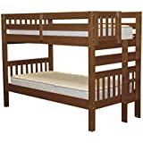 Bedz King Bunk Beds Twin over Twin Mission Style with End Ladder, Espresso
