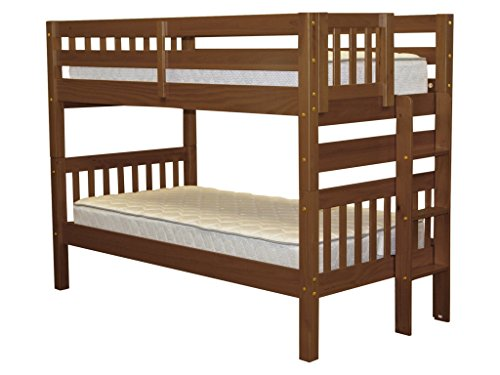 Bedz King Bunk Beds Twin Over Twin Mission Style with End Ladder, Espresso For Sale