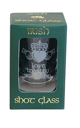 Shamrock Gift Co Irish Crystal Single Shot Glass Claddagh