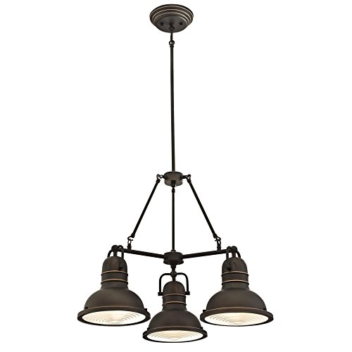 Westinghouse 26 Inch - Westinghouse Lighting 6333700 Boswell Three-Light Indoor Chandelier, Oil Rubbed Bronze Finish with Highlights and Prismatic Lens,