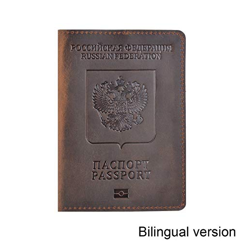 Cancer LLC - Genuine Leather Passport Cover Designed For Russian Federation Crazy Horse Leather Card Holder Business Bilingual Passport Case ()