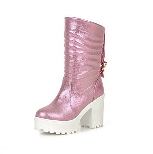 AgooLar Damen Rein Weiches Material Hoher Absatz Ziehen auf Rund Zehe Stiefel, Pink, 34