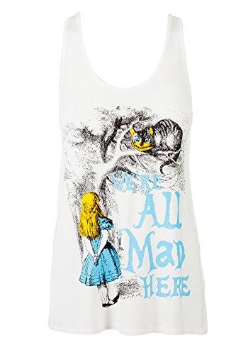 Sidecca Alice in Wonderland We're All Mad Here Muscle Tank-Ivory-Medium (Alice In Wonderland Shop)