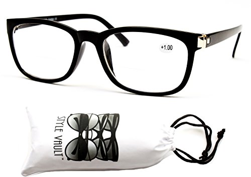 E3052-vp Style Vault Bifocal Reading Glasses Readers (B2723F +1.00 Black, - Glasses Nerdy Reading