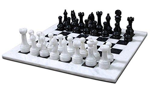 RADICALn 16 Inches Handmade White and Black Marble Full Chess Game Original Marble Chess Set Chess Store White Onyx