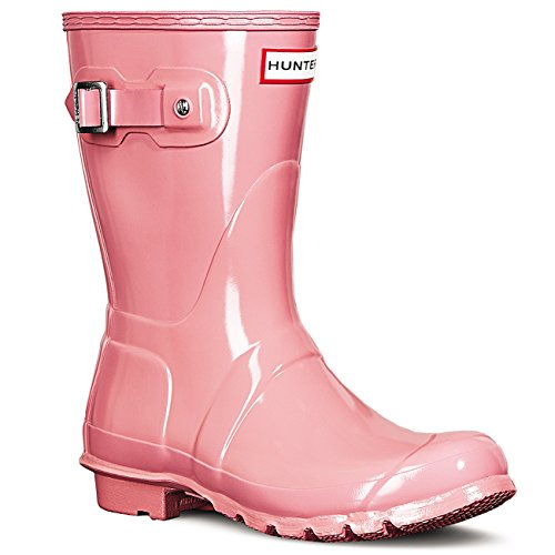 Hunter Womens Original Short Gloss Synthetic Boots Pink