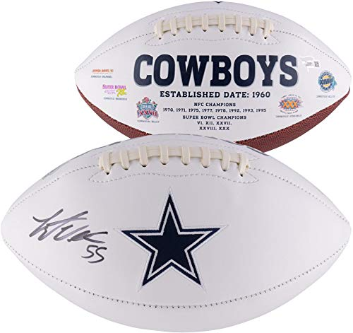 (Leighton Vander Esch Dallas Cowboys Autographed White Panel Football - Fanatics Authentic Certified - Autographed Footballs)