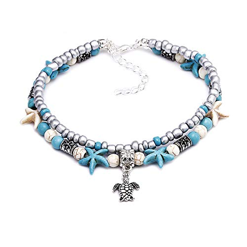 - BOMAIL 1PCS Anklets for Women Girls Blue Starfish Turtle Elephant Charm Ankle Bracelets Multilayer Gold Silver Plated Foot Jewelry Handmade