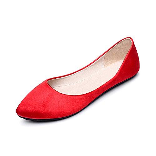 Ballerines En Rouge Plate Poiture Basique Robe Femme OCHENTA Grande Tissu Chaussure Aq574B4wn