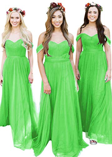 Fanciest Women's Off The Shoulder Tulle Long Bridesmaid Dresses 2018 Wedding Party Dress Lime Green US18W