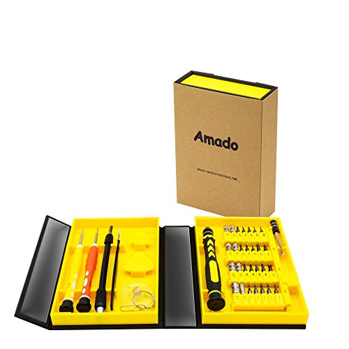 Precision Screwdriver Set, Amado 38 Piece Repair Tool Kit for Mobile, Computer Accessories and Electronic Devices, Screwdriver Bits Hand Tool with Compact Box for Home or Commercial Use (Compact Box)