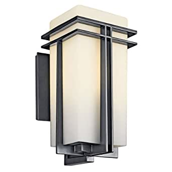 "Kichler 49202 Tremillo Single Light 17"" Tall Outdoor Wall Sconce with Etched Gla, Black (Painted)"