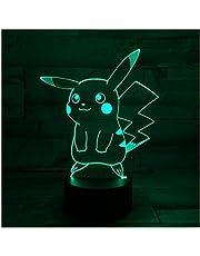 3D Nachtlampje Illusie Lamp LED Lichten Pikachu 7 Kleuren Afstandsbediening Touch Tafellamp Decoraties Verjaardagscadeaus voor Kids 3D Optische Illusie Lichten