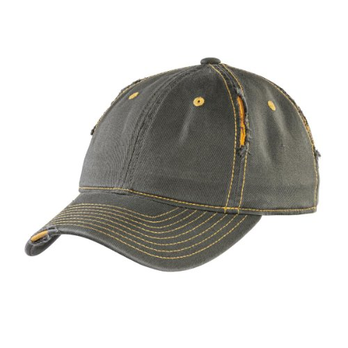 District Men's Rip and Distressed Cap OSFA Army/Gold