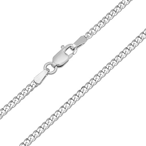 Forever Flawless Jewelry 14K White Gold 2mm Concave Curb Classic Link Chain Necklace - 18 inches