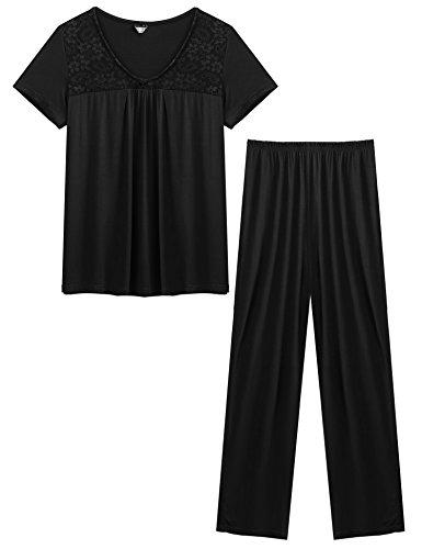 Ekouaer Women's Embroidery Lace Top and Elastic Waist Long Pants 2 Piece Pajama Set Black (2 Piece Elastic Waist Pajama Set)