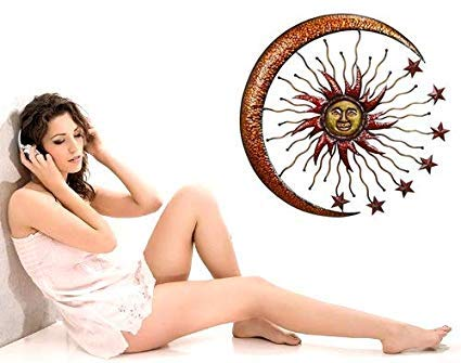 Bellaa 20025 World Best Sun Moon Stars Metal Wall Hanging Garden Art 36'' by Bellaa (Image #5)