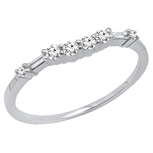 Dazzlingrock Collection 0.22 Carat (ctw) 14K Round & Baguette Cut Diamond Ladies Wedding Band 1/4 CT, White Gold, Size 6.5
