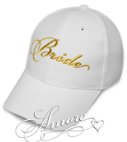 BRIDE Wedding Baseball Cap WHITE Hat with GOLD Embroidery