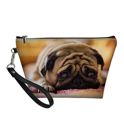 - Coloranimal Fashion Small Toiletry Bag, Travel Accessories Cosmetic Makeup Purse Kawaii Bull Dog Printed Cluch Pouch Portable Handbag Organizer Holder