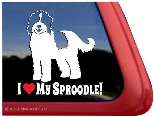 Springer Spaniel Poodle - I Love My Sproodle! | Springer Spaniel Poodle Mixed Breed NickerStickers Vinyl Dog Window Decal