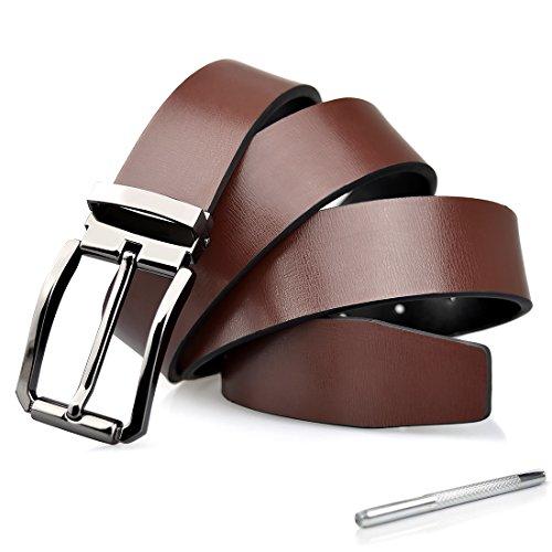 84eaa3810d Cinturon Hombre Cuero Negro Ancho Reversible Casual De Negocios De Hebilla  Cinturón Trabajo Hombre Marrón 125cm