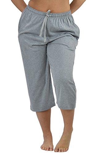 Up2date Fashion Womens Cropped Knit Pajama Pants, Cotton Sleep Pants Large HeatherGrey (Cotton Knit Pants Cropped)