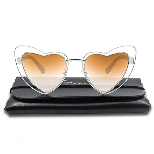 Livhò Heart Shape Sunglasses for Women Double Rimmed Plastic Frame UV400 Protection Fashion Style (Tea)
