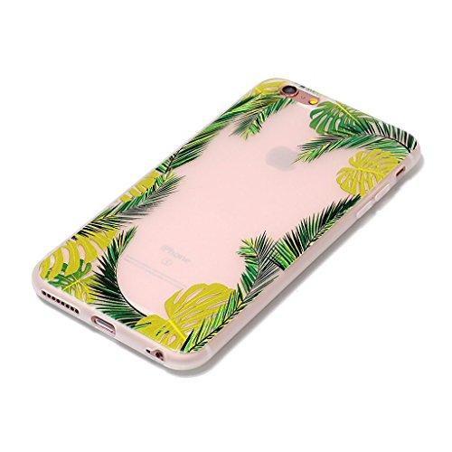 iPhone 6 Plus / 6S Plus Coque,3D Feuilles de noix de coco Premium Gel TPU Souple Silicone Transparent Clair Bumper Protection Housse Arrière Étui Pour Apple iPhone 6 Plus / 6S Plus + Deux cadeau