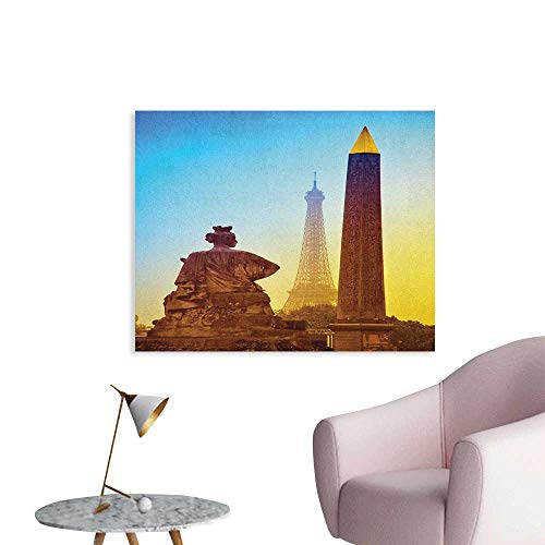 Anzhutwelve Eiffel Tower Corridor/Indoor/Living Room France Place De La Concorde Obelisk and The Landmark of The City Poster Paper Caramel Yellow Blue W48 xL32]()