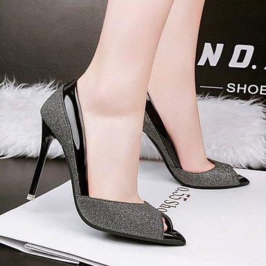 5 cm à LvYuan Polyuréthane Chaussures Talons Arrière A Bride à 9 Argent Femme A Bride 7 ggx black Printemps 5 Noir Arrière Or Décontracté ttqrB1