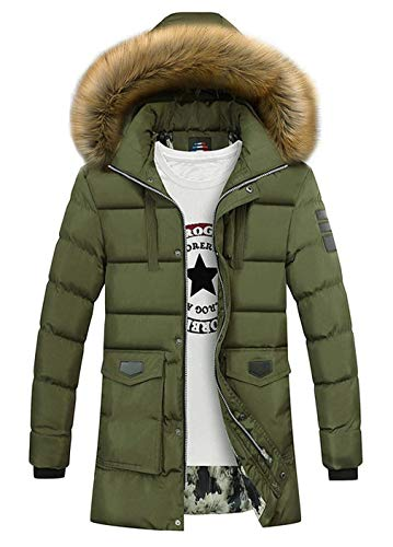 HX Outdoor Fit Outerwear Grün Down Comfortable Quilted Jacket Jacket Hooded Coat Winter Quilted Sleeve Warm Slim Leisure Sizes Thicken Clothing Men fashion Long Parka Hpr4qH