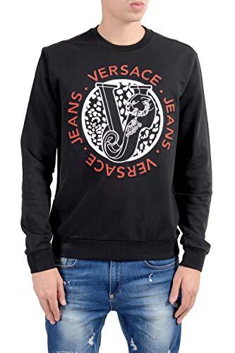 (Versace Jeans Men's Black Designed Crewneck Sweatshirt Size US S IT 48)
