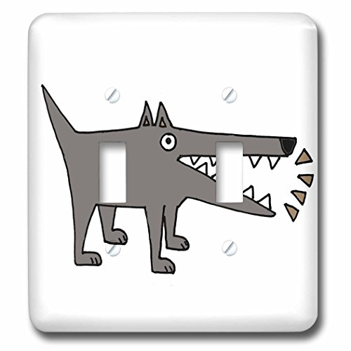All Smiles Art Pets - Funny Cute Gray Watchdog Barking Cartoon - Light Switch Covers - double toggle switch (lsp_245438_2) -
