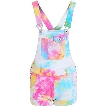 5e853a81ba955 Womens Multicoloured Tie Dye Dungarees (RK-1062): Amazon.co.uk: Clothing