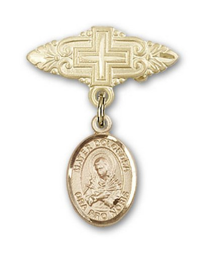 Icecarats Or Bijoux De Créateurs Mater Dolorosa Rempli Broche De Badge Charme Avec Une Croix X 3/4