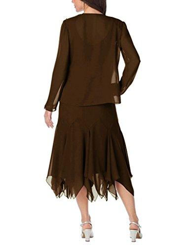 Jacke mit Chiffon kurze R¨¹schen der Frauen Mutter Schokolade HWAN Braut Kleid 8zZqgxwE