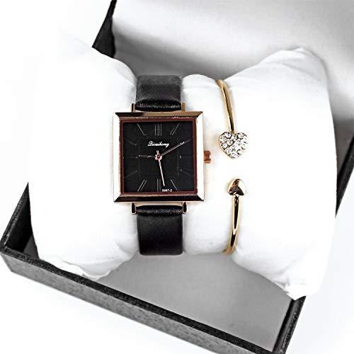 Women Classic Square Watch with Leather Bands and Charm Bracelet Set Business Casual Wrist Watch