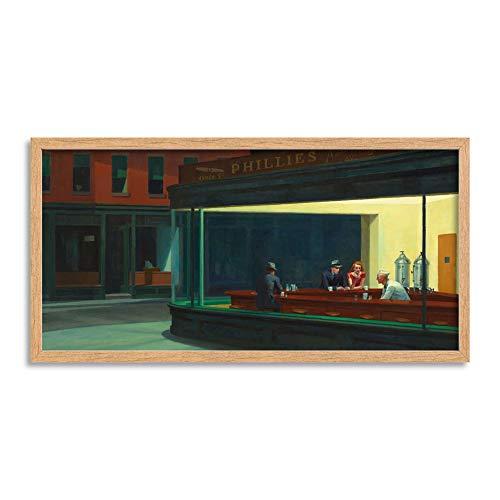 (Edward Hopper Nighthawks Iconic Painting Framed Wall Art Print Long 25X12 Inch )