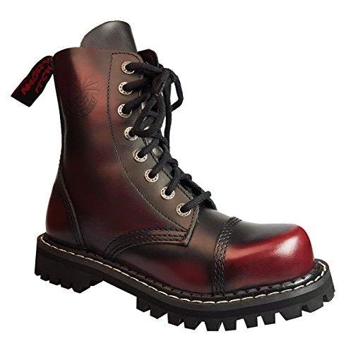 Pelle punk Buchi in ferro Anfibi Angry Bordeaux Stivali Rosso Color Itch 8 punta di Militari 4qAcR610a