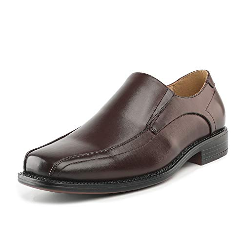Bruno Marc Men's State-01 Dark Brown Leather Lined Dress Loafers Shoes - 11 M US (Style Shoes Brown Dress Loafer)