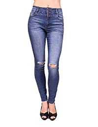 Cello Jeans Women Distressed Skinny Jeans with 3 Front Button
