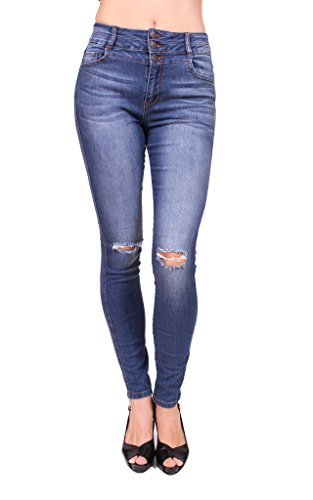 a40ed13345728 Cello Jeans Women Distressed Skinny Jeans with 3 Front Button 11 Medium  Denim