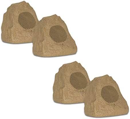 Theater Solutions 4R4S Outdoor Weatherproof Sandstone Rock Speakers 4 Piece Set 1000 Watts