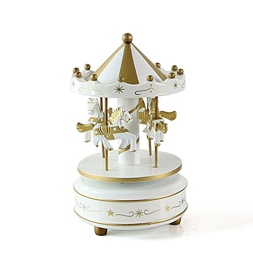 Aparts Hand-painted Wooden Carousel Music Box Merry-Go-Round Horse Music Box Kids Children Girls Christmas Birthday Gift Toy Wedding Decor (White Gold)