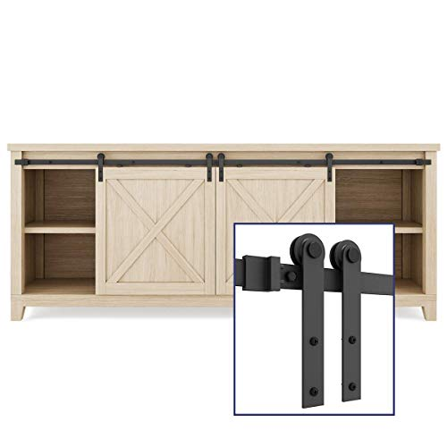 "SMARTSTANDARD 6.6FT Super Mini Sliding Barn Door Hardware Track Kit -Super Smoothly and Quietly -for Double Opening Cabinet, TV Stand, Window -Fit 20""-26"" Wide Door Panel-I Shape Hanger (NO Cabinet)"