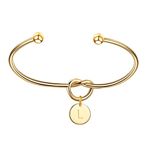 OSIANA Personalized Initial Pendant 14K Gold Plated Cuff Tie The Knot Bangle Bracelets Alphabet Jewelry Gift for Women(Letter:L)