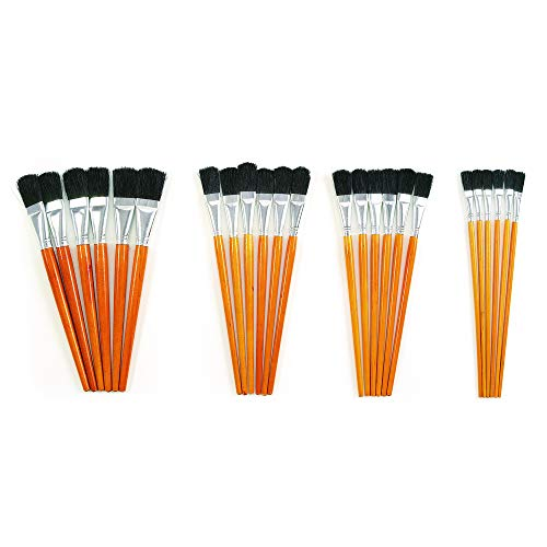 - Colorations Short Handle Wooden Easel Paint Brushes (Set of 24) - 10