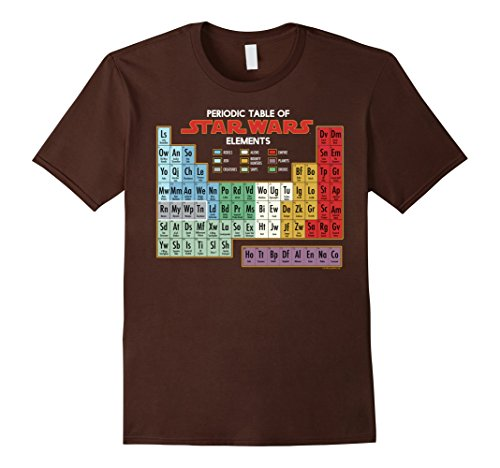 Mens Star Wars Periodic Table of Elements Graphic T-Shirt Large Brown
