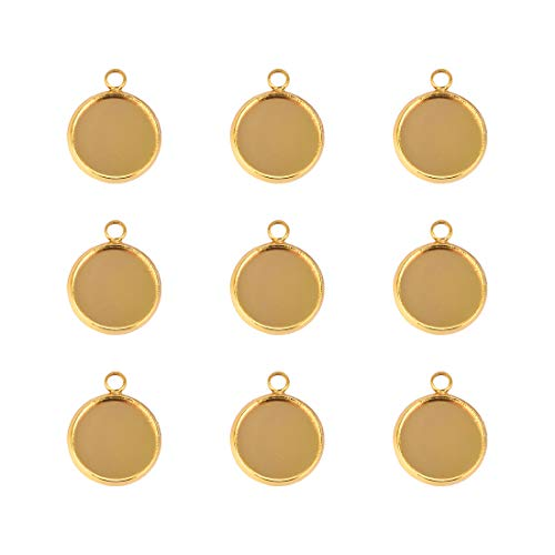 20pcs 12mm Gold Round Blanks Bezels Pendant Trays Stainless Steel Base for Resin Crafting DIY Jewelry Making Photo - Bezel Gold Plain